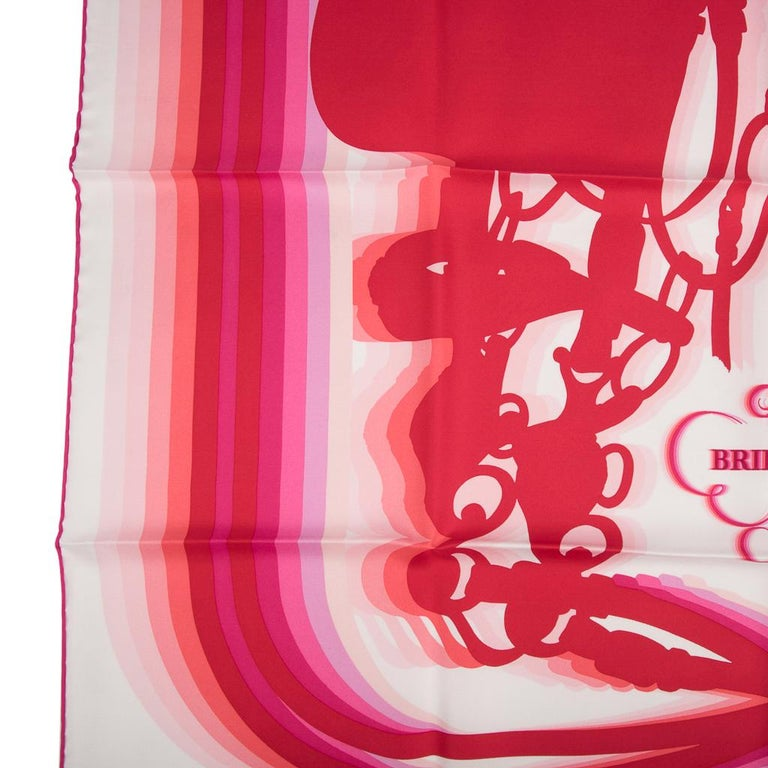 Hermes Scarf Brides de Gala Shadow 90 Blanc Rouge Rose Vif Silk Twill nwt For Sale 1