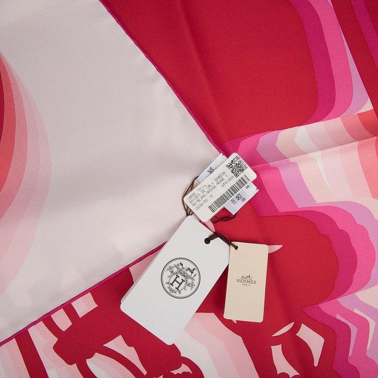 Hermes Scarf Brides de Gala Shadow 90 Blanc Rouge Rose Vif Silk Twill nwt For Sale 4
