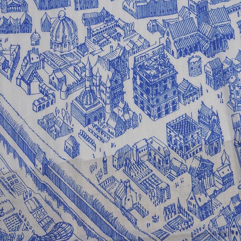 Hermes Scarf La Cite Cavaliere Bleu Royal Blanc Blue Encre Cashmere Silk 140 For Sale 6