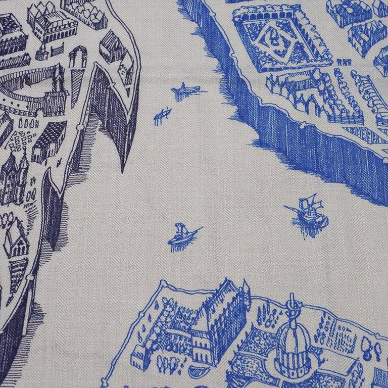 Hermes Scarf La Cite Cavaliere Bleu Royal Blanc Blue Encre Cashmere Silk 140 For Sale 7