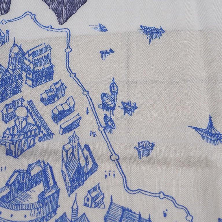Hermes Scarf La Cite Cavaliere Bleu Royal Blanc Blue Encre Cashmere Silk 140 For Sale 9