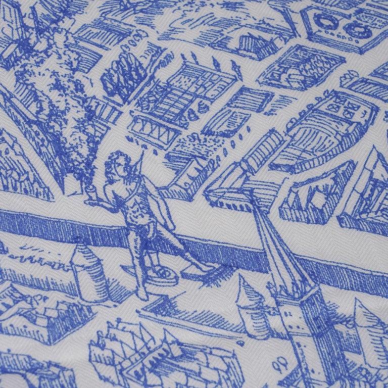 Hermes Scarf La Cite Cavaliere Bleu Royal Blanc Blue Encre Cashmere Silk 140 For Sale 11
