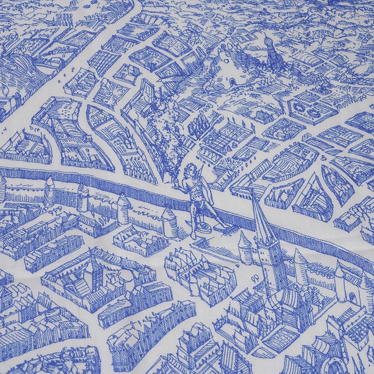Hermes Scarf La Cite Cavaliere Bleu Royal Blanc Blue Encre Cashmere Silk 140 For Sale 12