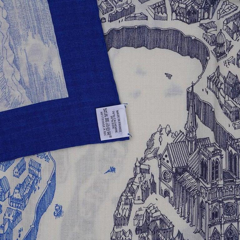 Hermes Scarf La Cite Cavaliere Bleu Royal Blanc Blue Encre Cashmere Silk 140 For Sale 13