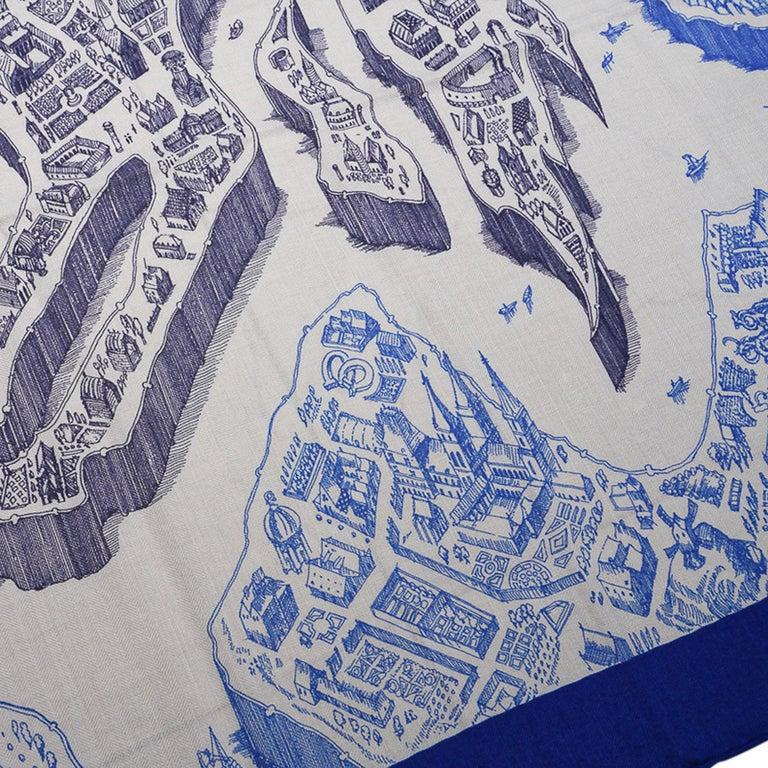 Women's Hermes Scarf La Cite Cavaliere Bleu Royal Blanc Blue Encre Cashmere Silk 140 For Sale