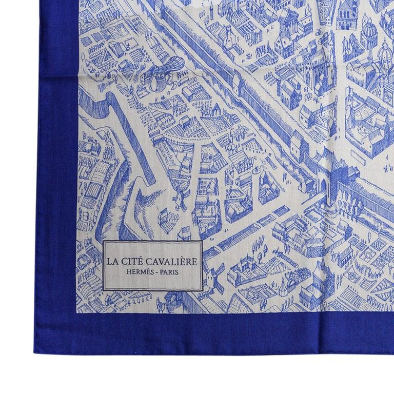 Hermes Scarf La Cite Cavaliere Bleu Royal Blanc Blue Encre Cashmere Silk 140 For Sale 2
