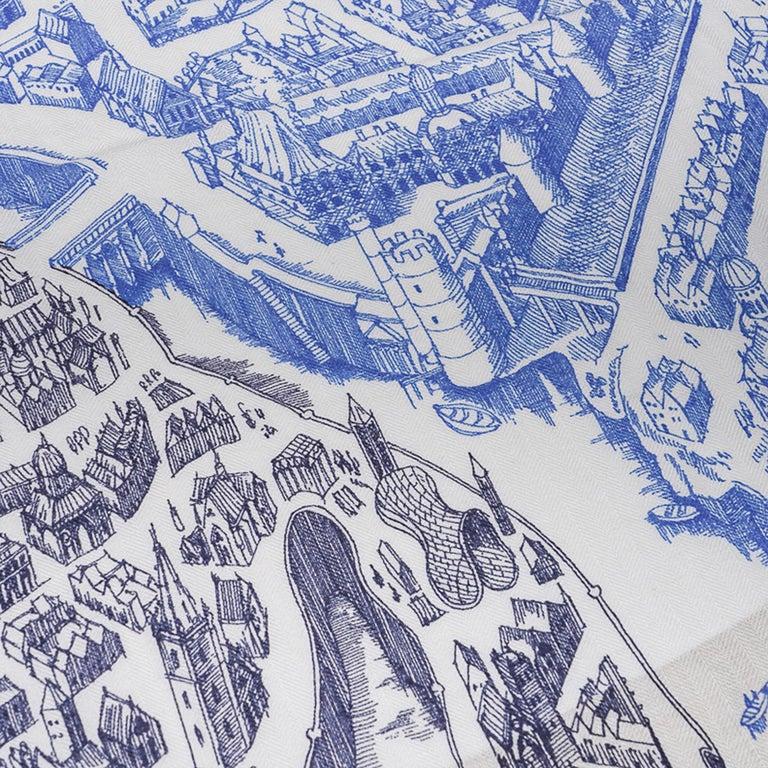 Hermes Scarf La Cite Cavaliere Bleu Royal Blanc Blue Encre Cashmere Silk 140 For Sale 3