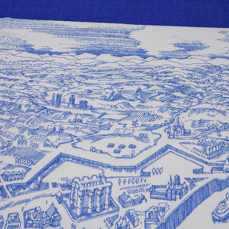 Hermes Scarf La Cite Cavaliere Bleu Royal Blanc Blue Encre Cashmere Silk 140 For Sale 5