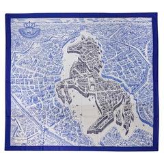 Hermes Scarf La Cite Cavaliere Bleu Royal Blanc Blue Encre Cashmere Silk 140