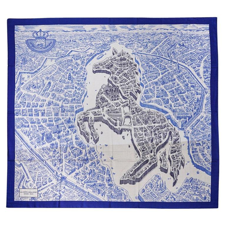 Hermes Scarf La Cite Cavaliere Bleu Royal Blanc Blue Encre Cashmere Silk 140 For Sale