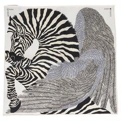 Hermes Scarf Nano Zebra Pegasus Noir / Blanc New w/Box