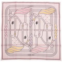 Hermes Scarf Quadrige Rose Poudre Jaune Rose Buvard Silk Twill 70