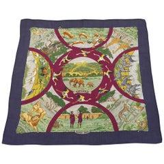 Hermès Scarf Shawl TANZANIE Robert Dallet Cashmere Silk 90 cm