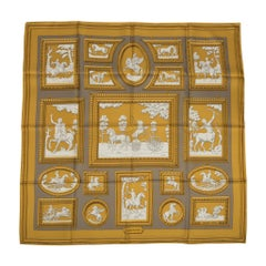 Hermes Scarf Silk Wedgwood Gold Gray by Philippe Ledoux