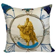 "Hermes Silk Scarf ""Cuirs Du Desert"" Ivory Custom Pillow"
