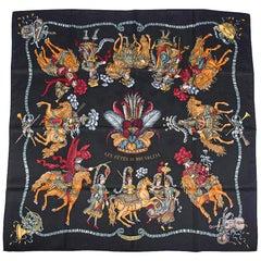 Hermes Scarf Vintage Les Fetes du Roi Soleil Jacquard Silk