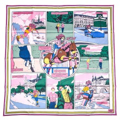 Hermes Scarf Wow Silk Twill Rose / Vert / Rose Frais 90 New w/ Tag and Box