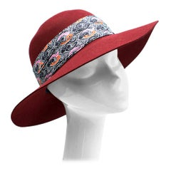 Hermes Scarlett Rabbit Felt Hat with silk bandeau
