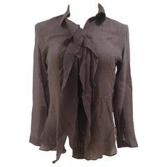 Hermès see through brown silk shirt