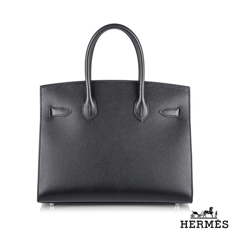 Black Hermès Sellier Birkin 30 Noir Veau Madame PHW For Sale