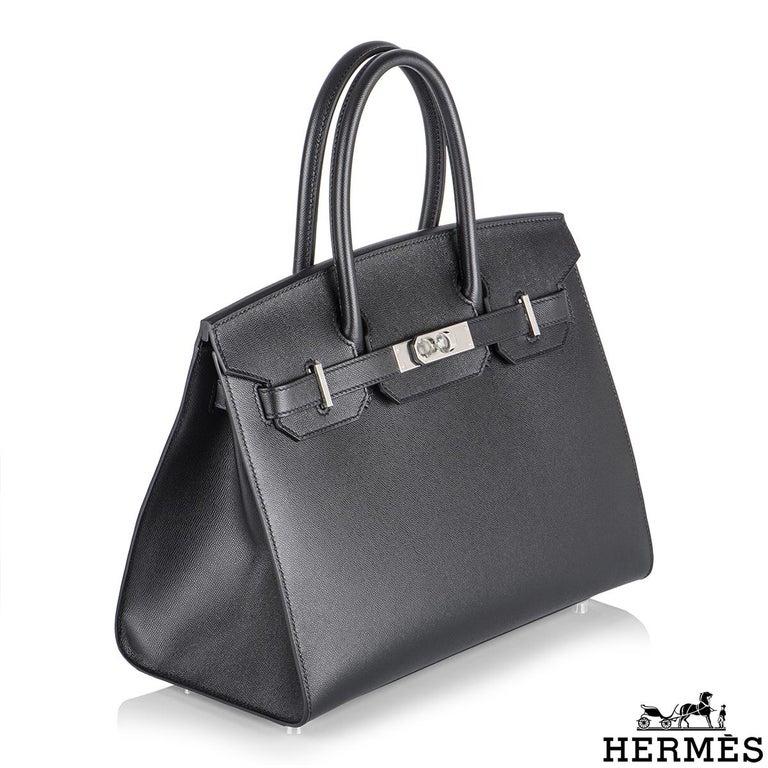 Hermès Sellier Birkin 30 Noir Veau Madame PHW In New Condition For Sale In London, GB