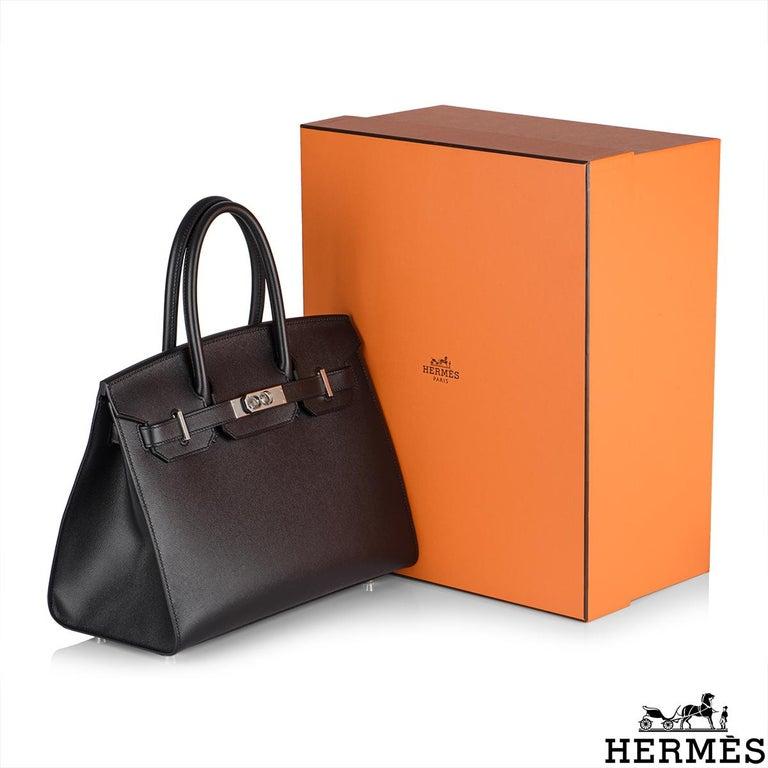Hermès Sellier Birkin 30 Noir Veau Madame PHW For Sale 4