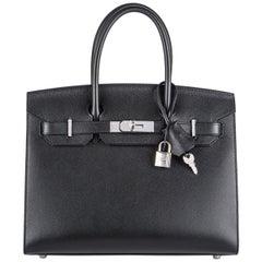 Hermès Sellier Birkin 30 Noir Veau Madame PHW