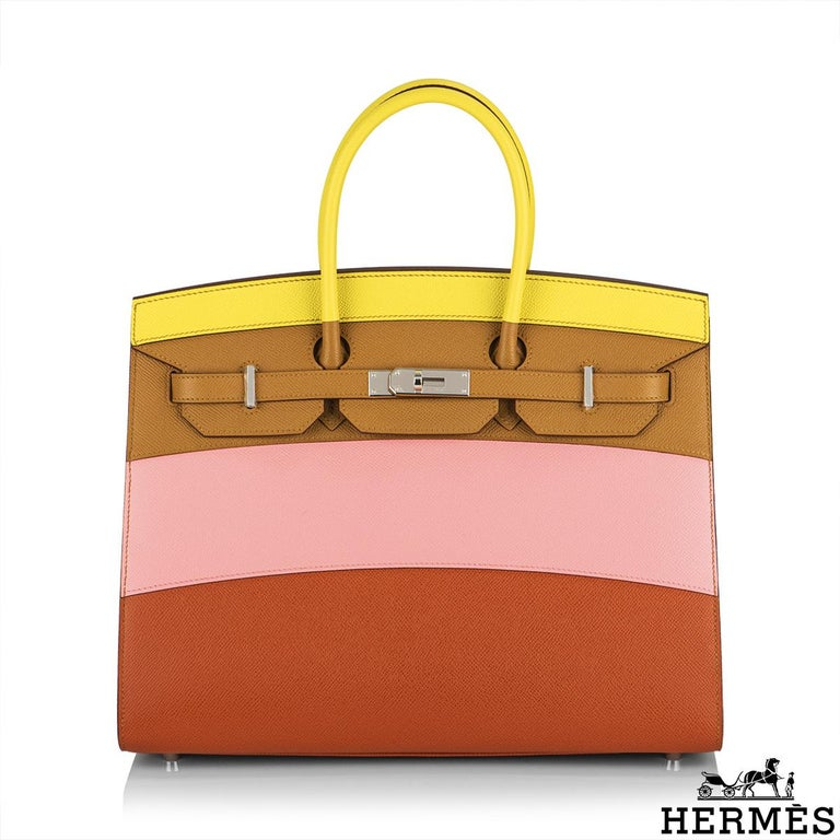 A Rare Limited Edition Hermès Sellier Birkin 35 Rainbow Sunrise bag. The exterior of this birkin features epsom leather in yellow lime, sésame beige, rose confetti, and brown terre. These sunrise-inspired colours are complimented with palladium
