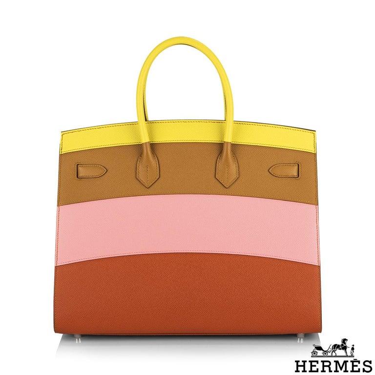 Women's Hermès Sellier Birkin 35 Rainbow Sunrise Epsom PHW For Sale