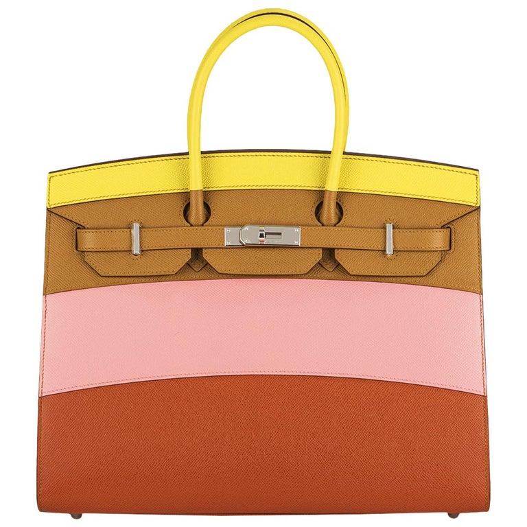 Hermès Sellier Birkin 35 Rainbow Sunrise Epsom PHW For Sale