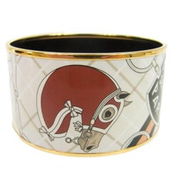 Hermes Sellier Horse Motif Paris Wide Gold Evening Cuff Bracelet in Box