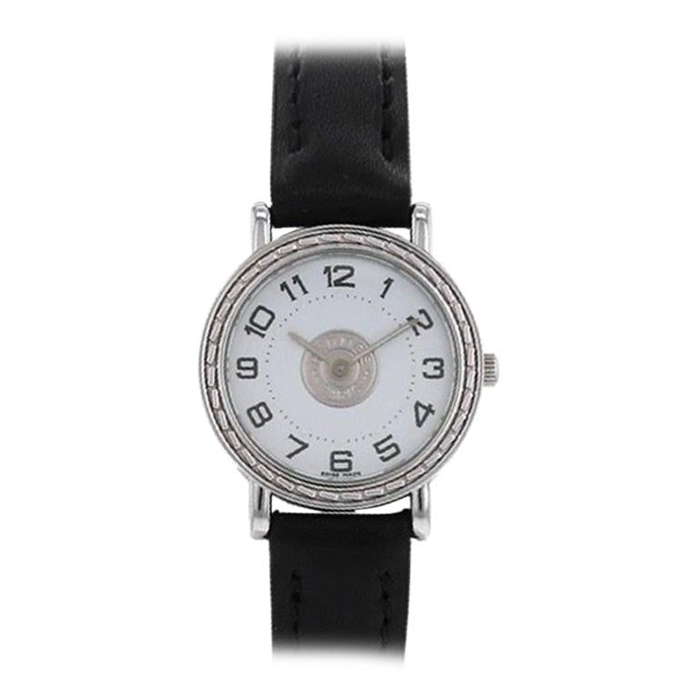 "Hermès ""Sellier"" Stainless Steel Watch For Sale"