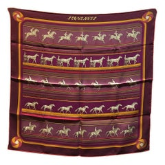 Hermes Sequences Maroon Silk Bandana Scarf 70
