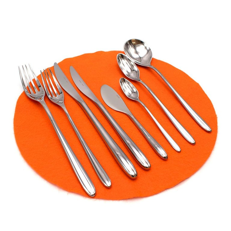 Hermes Set of 10 Sterling Silver Flatware - 7 Piece Setting  Iliane flatware collection. The Iliane collection was designed by Rena Dumas & was inspired by different cultures and gastronomic traditions, the shape was inspired by an olive.  Made in