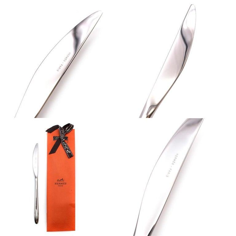 Hermes Set of 10 Sterling Silver Iliane Flatware - 7 Piece Setting For Sale 2