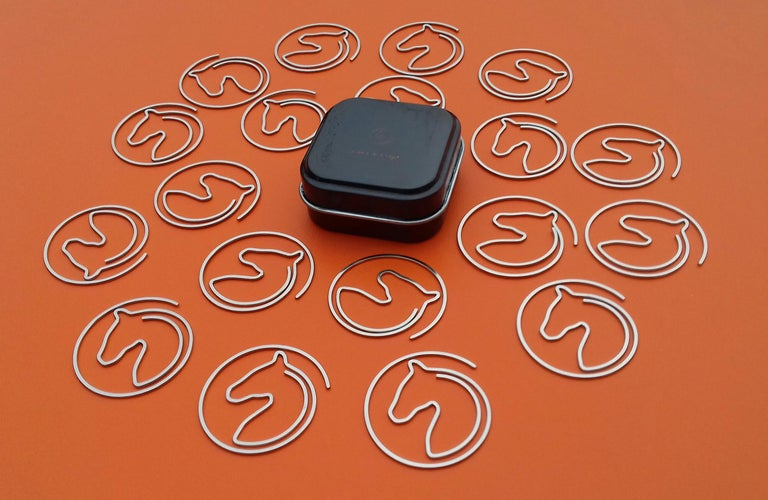 Hermès Set of 19 Paper Clips Shape of a horse's head in Box In New Condition In ., FR