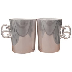 Hermès Set of 2 Silver-Tone Metal Cups Coffee Mugs Chaine d'Ancre Pattern RARE