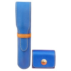 Hermès Set of Pencil Case and Sticky Notes Cover Blue Yellow Leather
