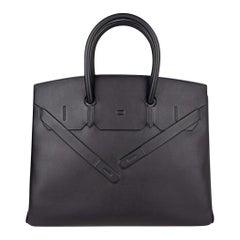 Hermes Shadow Birkin 35 Bag Limited Edition Black Swift Leather New