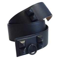 HERMES 'Shadow' Collier de Chien Belt in Ebony and Gold Leather Size 85EU