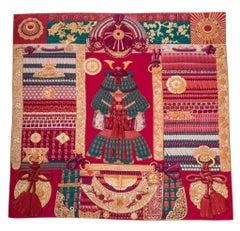 Hermes Shawl GM Parures de Samouraïs Cashmere Rose Indien Vert Corail 140 cm New