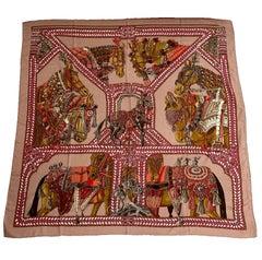 Hermès Shawl 'La Danse du Cheval Marwari' in Pink Cashmere and Silk