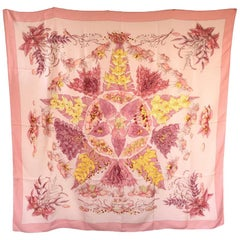 HERMES Shawl 'Pythagore' in Pink Cashmere and Silk