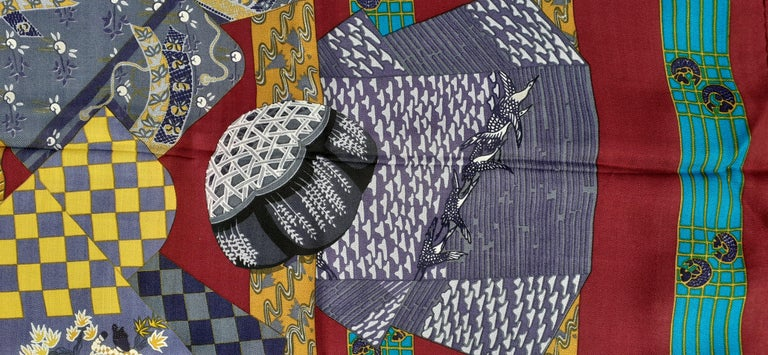 Hermès Shawl Scarf Kimonos et Inros Annie Faivre Cashmere Silk 54 inches For Sale 5