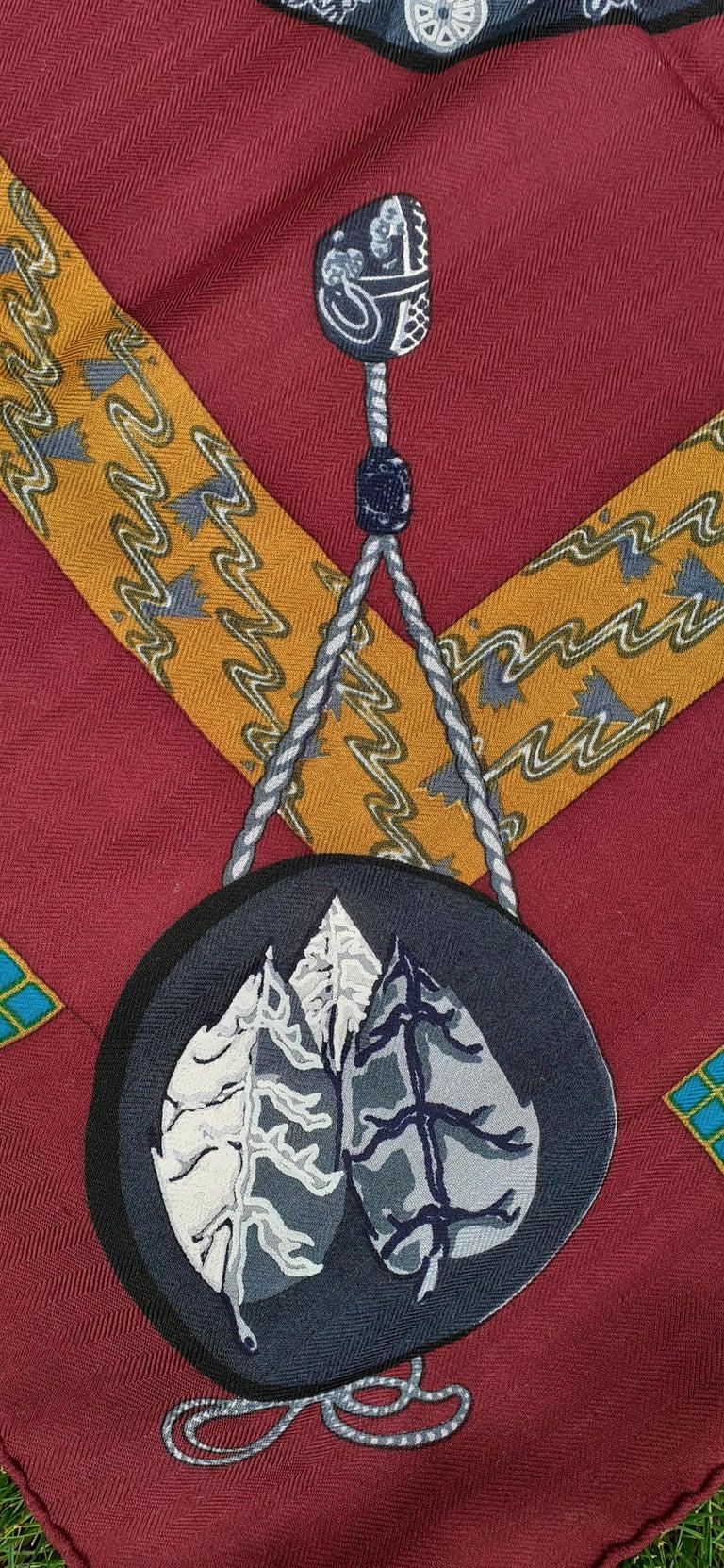 Hermès Shawl Scarf Kimonos et Inros Annie Faivre Cashmere Silk 54 inches For Sale 6