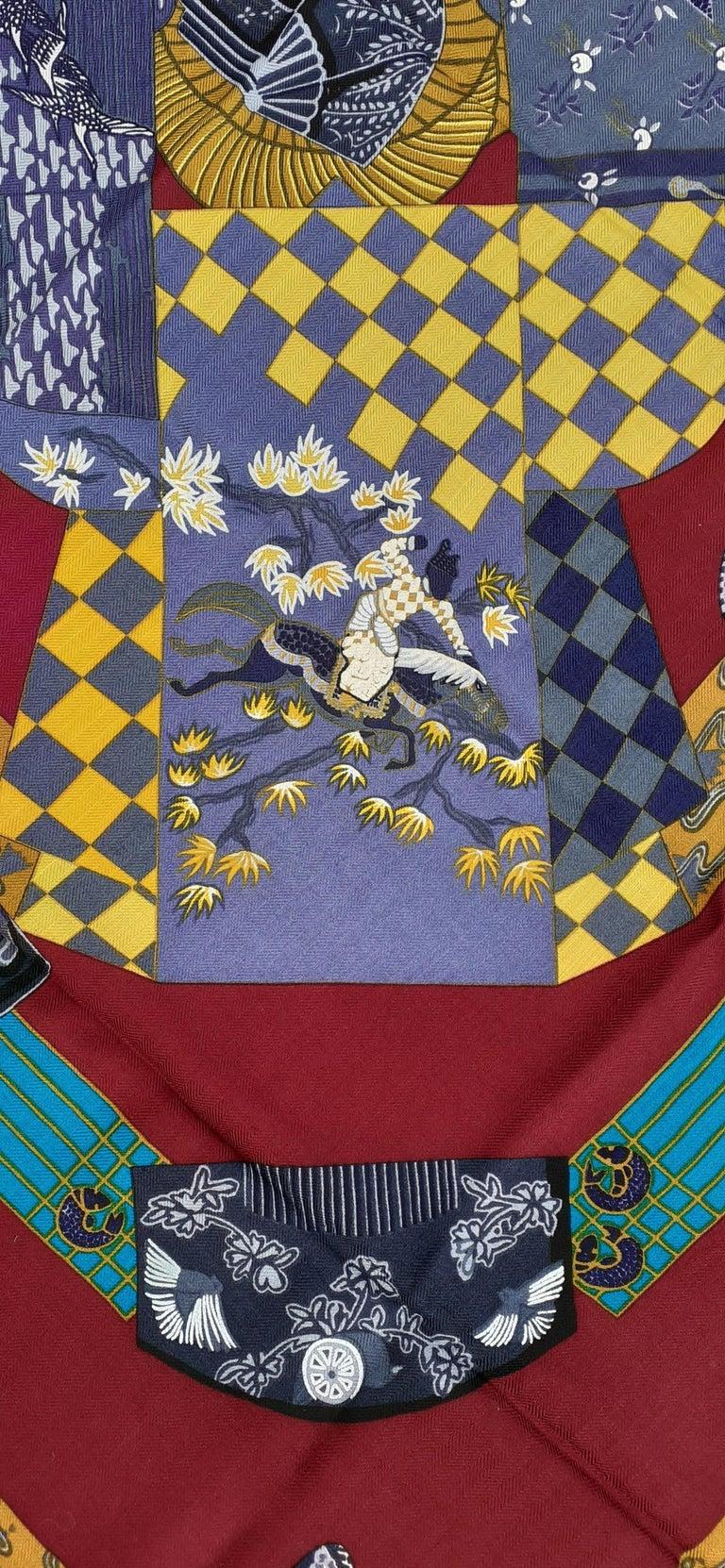 Hermès Shawl Scarf Kimonos et Inros Annie Faivre Cashmere Silk 54 inches For Sale 7
