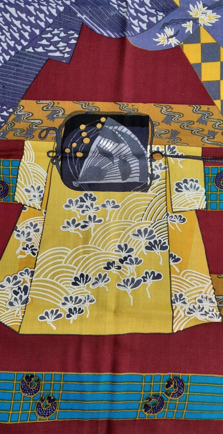 Hermès Shawl Scarf Kimonos et Inros Annie Faivre Cashmere Silk 54 inches For Sale 8