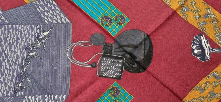 Hermès Shawl Scarf Kimonos et Inros Annie Faivre Cashmere Silk 54 inches For Sale 9