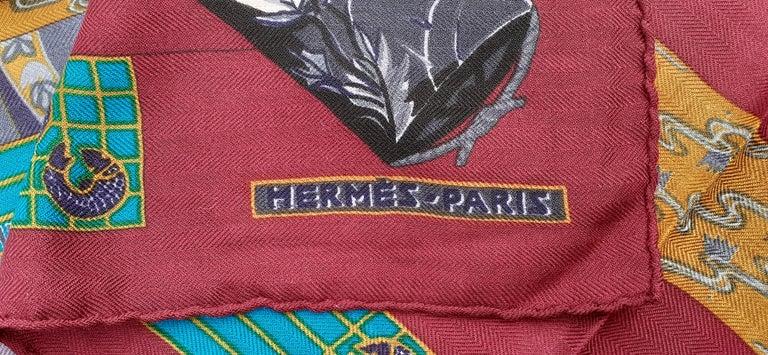 Hermès Shawl Scarf Kimonos et Inros Annie Faivre Cashmere Silk 54 inches For Sale 10