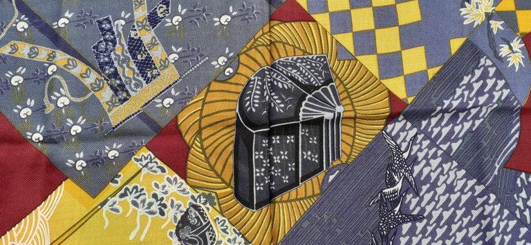 Hermès Shawl Scarf Kimonos et Inros Annie Faivre Cashmere Silk 54 inches For Sale 11